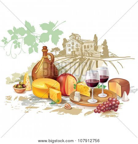 Still life of wine, cheese and grapes