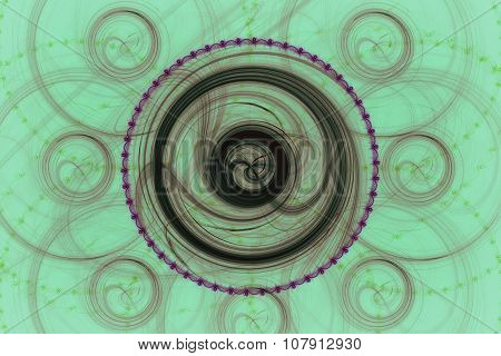 Fractal Images : Beautiful Patterns On A Green Background.