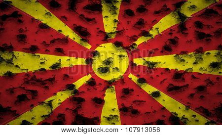 Flag of the Republic of Macedonia, Macedonian Flag painted on wall with bullet holes