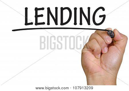 Hand Writing Lending  Over Plain White Background
