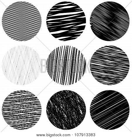 Set of Black Diagonal Strokes Patterns. Sketch Circles.