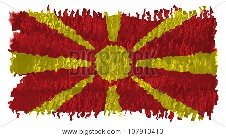 Flag of the Republic of Macedonia, Macedonian Flag painted with brush on solid background, paint tex