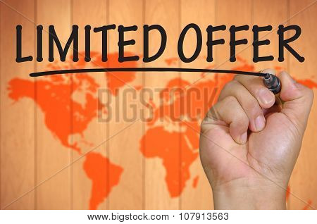 Hand Writing Limited Offer Over Blur World Background