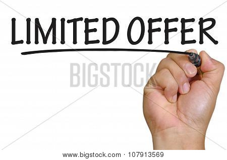 Hand Writing Limited Offer Over Plain White Background