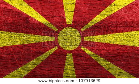 Flag of the Republic of Macedonia, Macedonian Flag painted on wood.