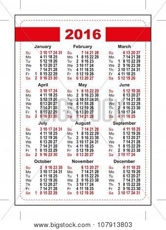 2016 pocket calendar. First day Sunday. Vertical orientation days of week