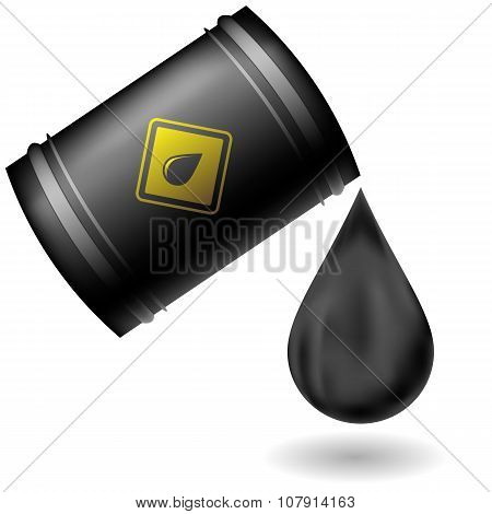 Metal Oil Barrel Isolated on White Background