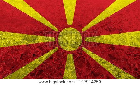 Flag of the Republic of Macedonia, Macedonian Flag painted on ice texture