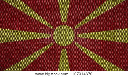 Flag of the Republic of Macedonia, Macedonian Flag painted on stitch texture