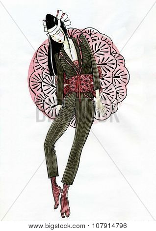 Fashion Sketch With Japanese Style