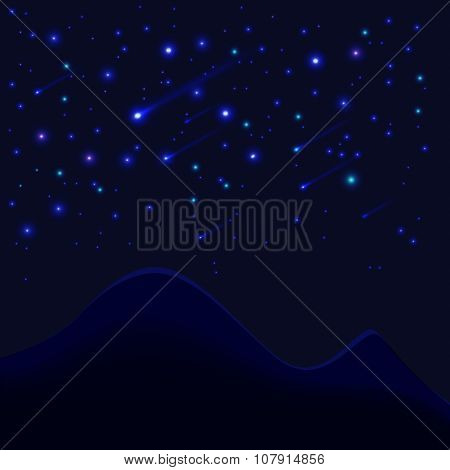 Bright Background With Stars And Mountains Vector