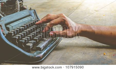 Typewriter And Human Hand , Vintage Style