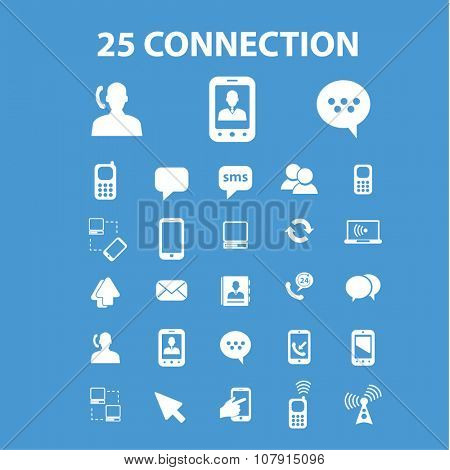connection, communication, network  icons, signs vector concept set for infographics, mobile, website, application