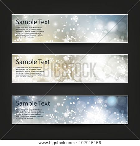 Set of Horizontal Banner or Header Designs for Christmas, New Year or Other Holidays with Colorful Sparkling Pattern Background - Colors: Blue, Silver, Gold