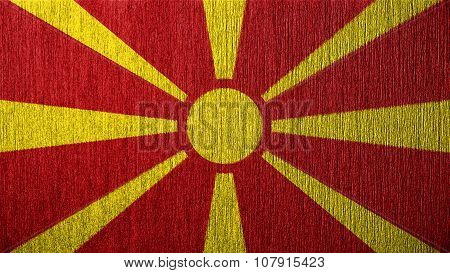 Flag of the Republic of Macedonia, Macedonian Flag painted on metal texture