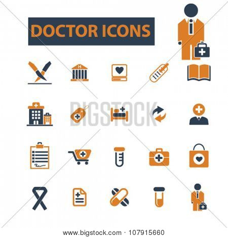 doctor, clinic  icons, signs vector concept set for infographics, mobile, website, application