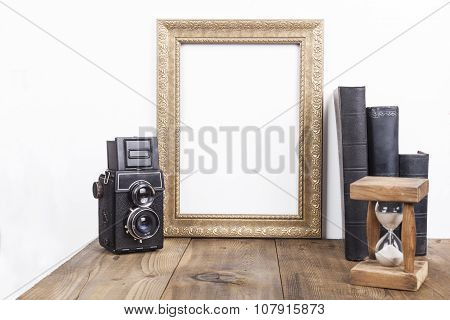 Golden Frame With Hourglass
