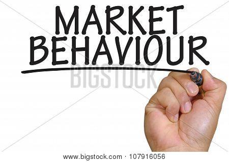 Hand Writing Market Behaviour Over Plain White Background