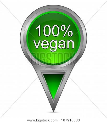 map pointer with 100% vegan