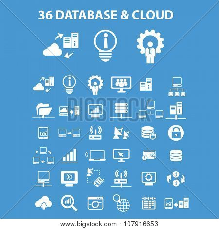 database, cloud, hosting, analytics  icons, signs vector concept set for infographics, mobile, website, application