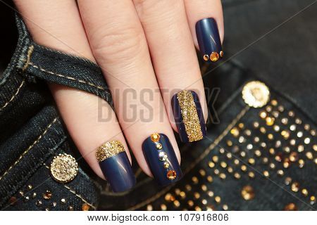 Denim blue manicure.