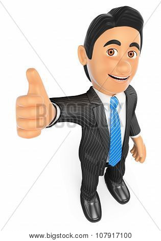 3D Businessman With Thumb Up. Success
