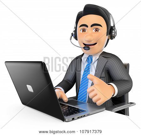 3D Call Center Employee Working With Thumb Up