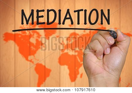 Hand Writing Mediation Over Blur World Background