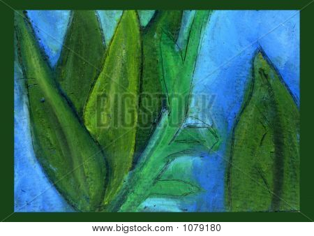 Abstract Green Plants Oil Pastel Painting