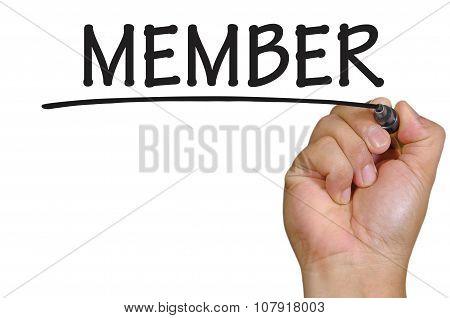 Hand Writing Member Over Plain White Background