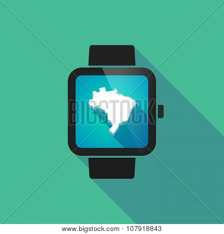Smart Watch Vector Icon With  A Map Fo Brazil
