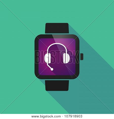 Smart Watch Vector Icon With  A Hands Free Phone Device