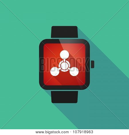 Smart Watch Vector Icon With A Chemical Weapon Sign