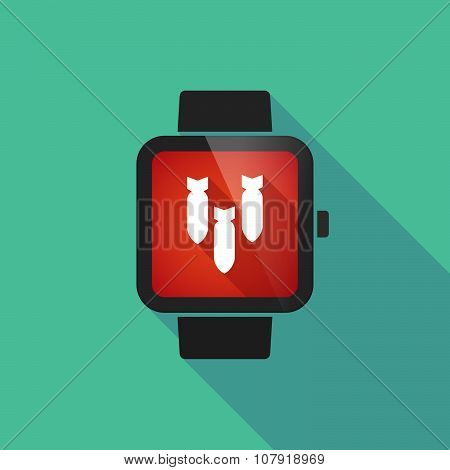 Smart Watch Vector Icon With Three Bombs Falling