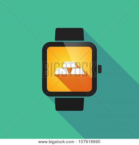 Smart Watch Vector Icon With Three Gold Bullions