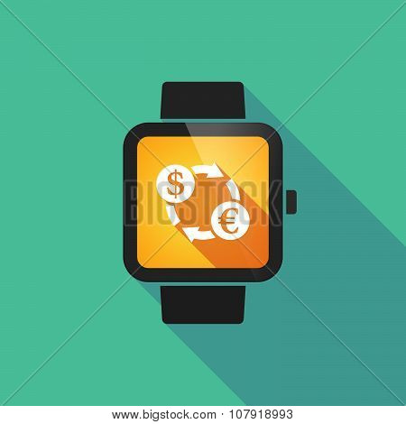 Smart Watch Vector Icon With A Dollar Euro Exchange Sign