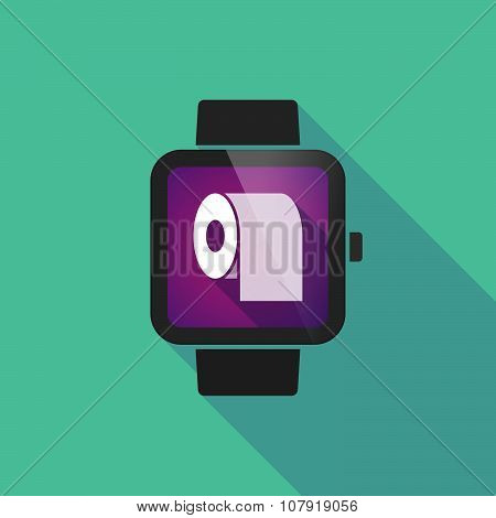 Smart Watch Vector Icon With A Toilet Paper Roll