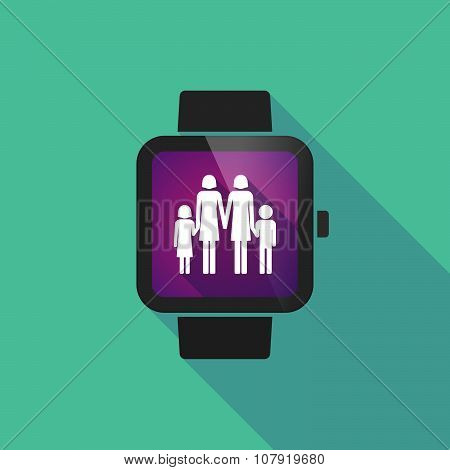 Smart Watch Vector Icon With A Lesbian Parents Family Pictogram