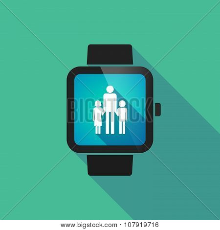Smart Watch Vector Icon With A Male Single Parent Family Pictogram