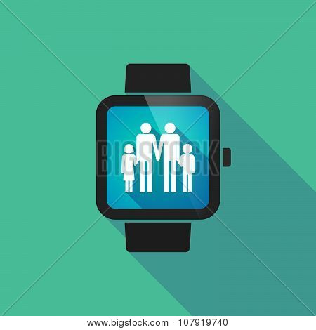 Smart Watch Vector Icon With A Gay Parents  Family Pictogram