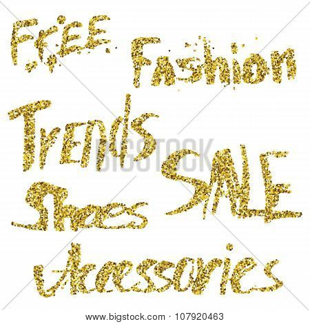 Glitter lettering. Free, fashion, trends, sale, shoes,accesories.
