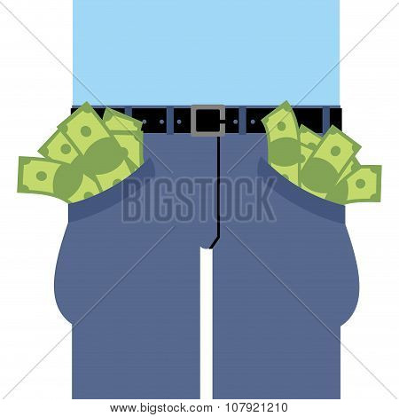 Pockets Many Money. Jeans Full Of Cash. Rich Man In Pants. Dollars Are Not Placed In Clothes.