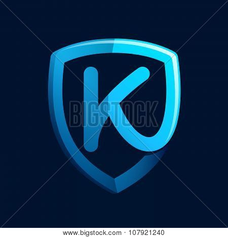 K Letter With Blue Shield.