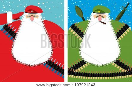 Santa Claus Christmas Defender. Military Grandfather With Beard And Moustache In Protective Clothing