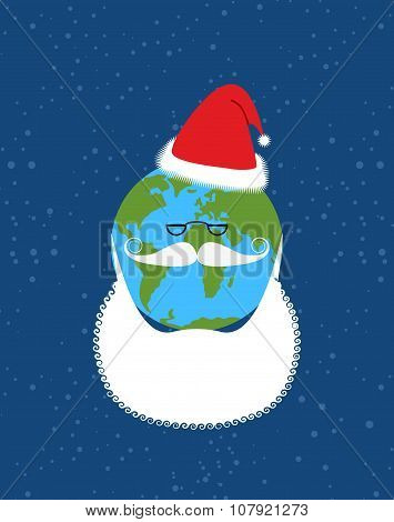 Earth Of Santa Claus. World-new Year. Earth With  Beard And Mustache. Christmas Hat For  World.