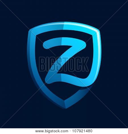 Z Letter With Blue Shield.