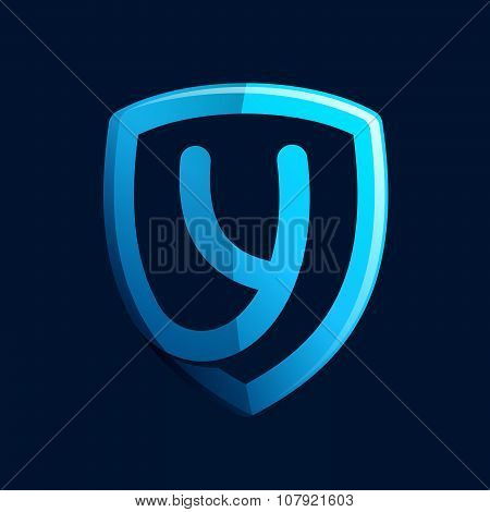 Y Letter With Blue Shield.