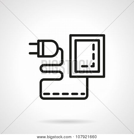 Mobile charger black line vector icon