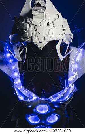 fiction robot, white suit with transparent plastic and LED lights on the body