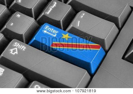 Enter Button With Democratic Republic Of The Congo Flag